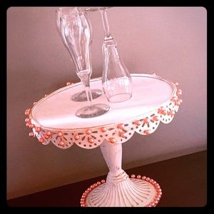 Cake stand, accented with pink pearls